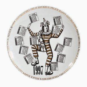 Italian Fornasetti Calendar Plate for 1997 by Barnaba Fornasetti, 1996