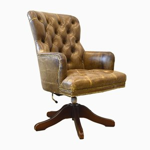 English Olive-Brown Leather Chesterfield Office Chair, 1950s