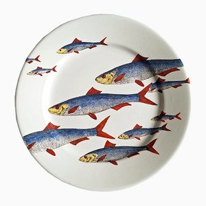 Italian Fish Plate by Piero Fornasetti, 1950s
