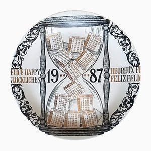 Italian Porcelain Calendar Plate for 1987 by Piero Fornasetti, 1986