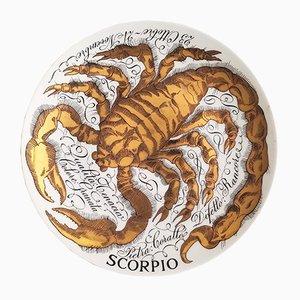 Vintage Italian Porcelain Zodiac Scorpio Plate by Piero Fornasetti for Corisia, 1967