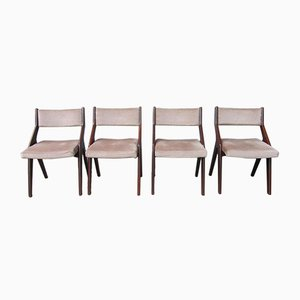 French Modernist Dining Chairs with Compass Frames, 1950s, Set of 4