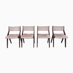 Sedie da pranzo moderniste con strutture a compasso, Francia, anni '50, set di 4