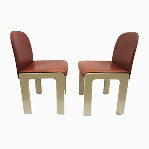 Sedie in pelle e legno laccato di Tobia Scarpa, anni '70, set di 2