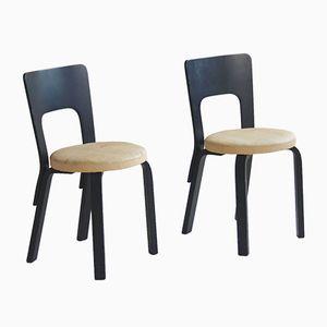 Mid-Century Finnish Model 66 Dining Chairs by Alvar Aalto for Artek, Set of 2