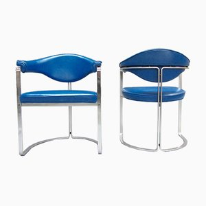 Blue Leather Chairs by Horst Brüning for Kill International, Set of 2