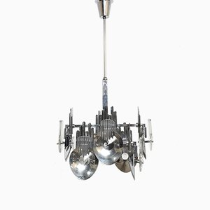 Italian Chrome Chandelier by Oscar Torlasco, 1960s