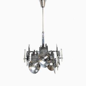 Lámpara de araña italiana de metal cromado de Oscar Torlasco, años 60
