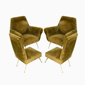 Italian Club Lounge & Side Chairs by Gigi Radice for Minotti, 1950s, Set of 4