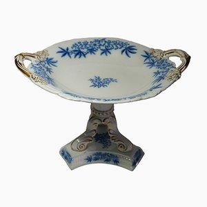 Centro de mesa antiguo blanco y azul de Ashworth Mason