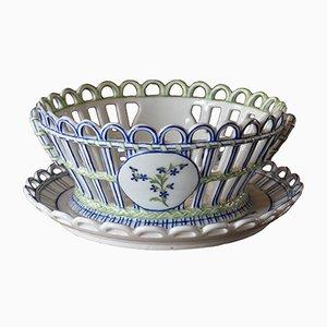 Antique French Niderviller Porcelain Basket with Under Plate, 1790s