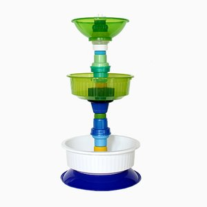 Multiplastica Domestica Small Tiered Fruit Bowl in Green, White & Blue by Brunno Jahara