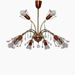Lámpara de techo vienesa de cristal de Emil Stejnar para Rupert Nikoll, años 50