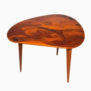 Mesa de centro austriaca vintage de madera con incrustaciones, años 50