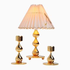 Dänische Tischlampe & Kerzenständer Set von Hugo Asmussen, 1960er