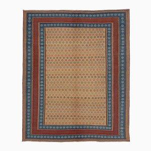 Alfombra Kilim persa en azul y rojo bordada