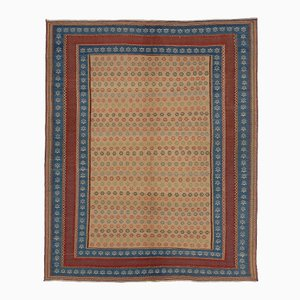 Middle Eastern Blue & Red Embroidered Kilim Rug from FJ Hakimian, 2002