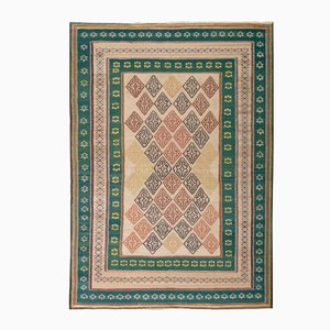 Middle Eastern Green & Pink Embroidered Kilim Rug from FJ Hakimian, 2002