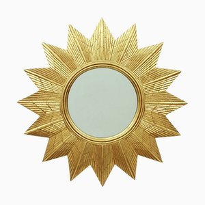 German Golden Starburst Wall Mirror, 1970s