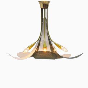 Französische Blumen Deckenlampe, 1950er