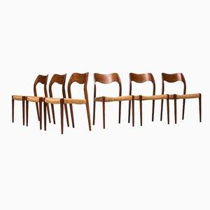 Model 71 Teak Dining Chairs by Niels O. Møller for J.L. Møllers, 1951, Set of 6