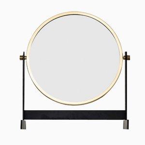 Espejo de mesa escandinavo de teca y latón, años 50