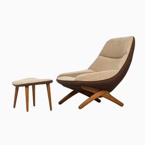 Easy Chair & Ottomane ML-91 par Illum Wikkelsø pour Michael Laursen, 1950s