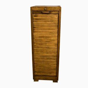 Vintage Bauhaus Style Tambour Door Oak Cabinet
