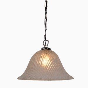 Lámpara colgante italiana de cristal de Murano con detalles de latón, años 60