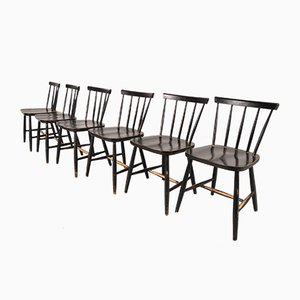 First Edition Fanett Dining Chairs by Ilmari Tapiovaara for Edsby, 1950s, Set of 6