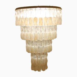 Lámpara de araña Soffio grande de cristal de Murano de Roberto Pamio & Renato Toso para Leucos, 1970