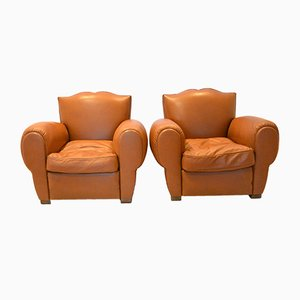 French Moustache Leather Club Chairs, 1935, Set of 2