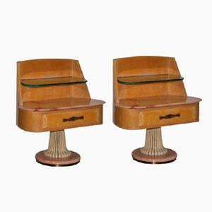 Mesitas de noche italianas de madera de arce de Dassi, años 50. Juego de 2
