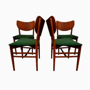 Dänische Nussholz Esszimmerstühle von Eva & Nils Koppel für Slagelse Møbelvaerk, 1950er, 4er Set