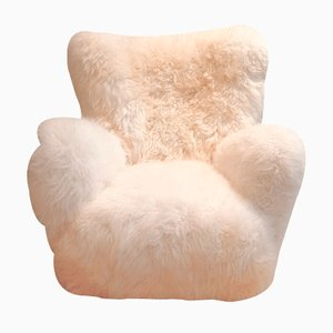 Danish Sheepskin Armchair, 1940s