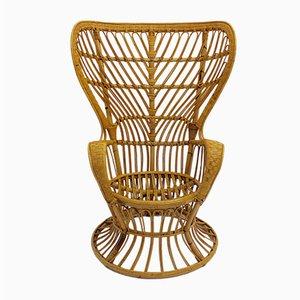 Silla pavo real italiana de ratán de Lio Carminati, años 50