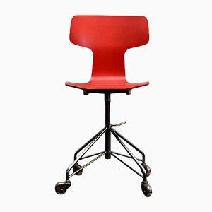 Sedia da scrivania 3103 Mid-Century rossa di Arne Jacobsen per Fritz Hansen