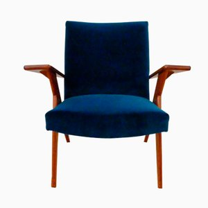 Brazilian Peroba Rosa and Blue Velvet Armchair by José Zanine Caldas, 1950s