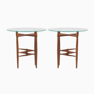Tavolini in vetro e mogano di Poul Hundevad, Danimarca, anni '50, set di 2