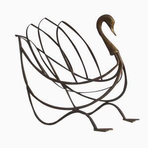 French Brass Swan-Shaped Magazine Rack from Maison Jansen, 1960s