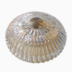 Swedish Crystal & Brass Flush Mount Chandelier by Carl Fagerlund for Orrefors, 1950s