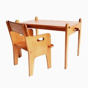 Sedia e tavolo Peter di Hans J. Wegner per Carl Hansen and Sons, Danimarca, 1944