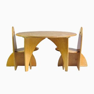 Dutch Play Table & Chairs by Ko Verzuu for ADO, 1950s, Set of 3