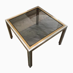 Vintage Italian Brass & Smoked Glass Coffee Table by Romeo Rega