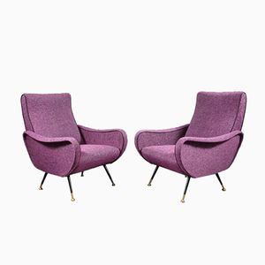 Purple Armchairs by Marco Zanuso, 1950s, Set of 2