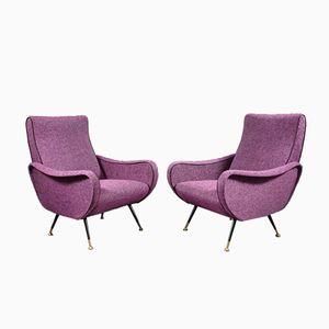 Purpurfarbene Sessel von Marco Zanuso, 1950er, 2er Set