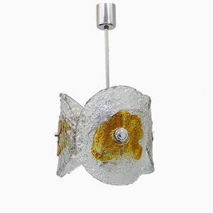 Lampada a sospensione vintage in vetro di Murano e metallo cromato