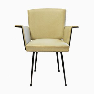 Mid-Century French Cream Skai & Iron Armchair