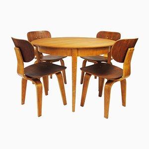 Set de Salle à Manger en Contreplaqué de Bouleau et en Teck par Cees Braakman pour Pastoe, Pays-Bas, 1950s, Set de 5