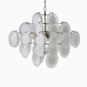 Lámpara de araña italiana de cristal de Murano blanco y transparente de Vistosi, años 70